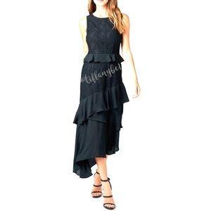 Rosina Ruffle Frill Asymmetric Lace Midi Dress
